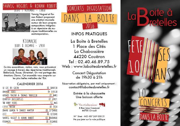 Programmation des concerts Dans la Boite 2016